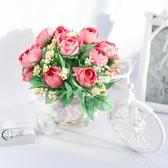 客廳絹花干花束塑料假花仿真花車小車套裝飾品家居小擺件室內擺設 aj6557『黑色妹妹』