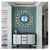 真貝殼 現代簡約中國風鐘表掛鐘時鐘客廳創意時尚個性家用靜音表