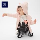 Gap男女嬰兒 小熊造型平織連帽針織衫 215587-奶昔淺粉