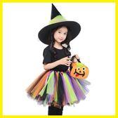 春季上新 兒童萬圣節親子服裝女童公主裙巫婆女巫cosplay化妝舞會演出服