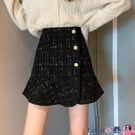 熱賣半身魚尾裙 春裝2021年新款荷葉邊a字半身裙顯瘦百搭高腰格子包臀魚尾短裙子 coco