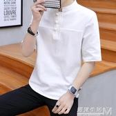 棉麻t恤男裝中國風短袖男士盤扣五分袖上衣大碼亞麻T恤薄夏季寬鬆 雙十一全館免運