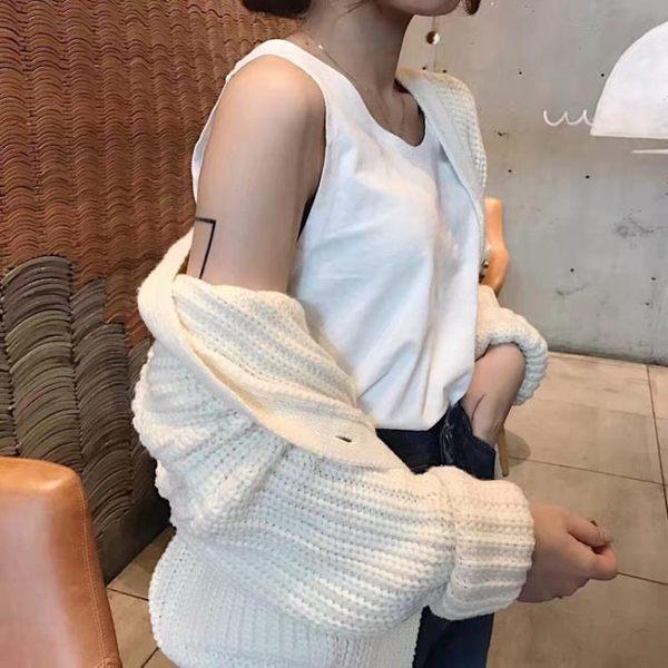 [協貿國際]寬松無袖吊帶背心短款純色衫內外搭上衣1入