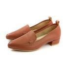 HUMAN PEACE 休閒鞋 尖頭 粗低跟 紅棕色 荔枝紋 女鞋 PW1284 no655