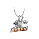 水晶毛衣鍊-鑲鑽麥克風生日母親節禮物女項鍊5色73gc208【時尚巴黎】