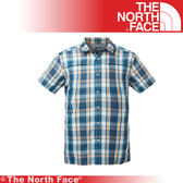 【The North Face 美國 男 抗UV排汗短襯衫/2L《藍色格紋》】3GIK/抗紫外線/透氣/短袖/襯衫★滿額送