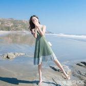 無袖洋裝 女三亞旅游海邊度假沙灘裙性感露背中長款百褶吊帶連身裙