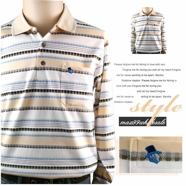 【大盤大】(P11636) 男士 橫條紋 長袖POLO衫 口袋棉衫 台灣製 MIT 有領休閒衫 寬鬆 有加大尺碼