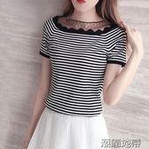 2018夏季新款條紋t恤女韓版網紗拼接短袖針織衫