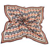 Christian Dior 優雅菱形條紋多彩大絲巾(黑橘)179005