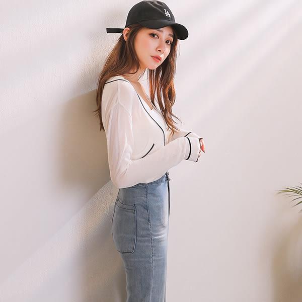 IN'SHOP輕透膚單口袋線配色罩衫-共2色【KT28320】