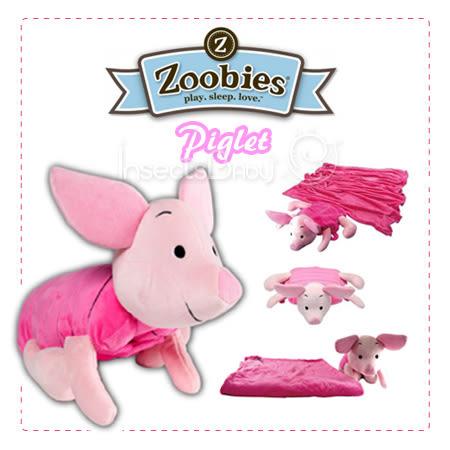 ✿蟲寶寶✿【美國ZOOBIES】Disney正版授權 迪士尼多功能玩偶毯 - 小豬皮傑 Piglet