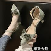 一字扣帶涼鞋女2020新款潮鞋百搭韓版夏季高跟鞋仙女風女鞋子『摩登大道』