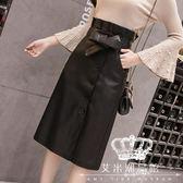 PU皮裙 包臀裙一步裙 女秋季新款高腰顯瘦紐扣中長款半身裙