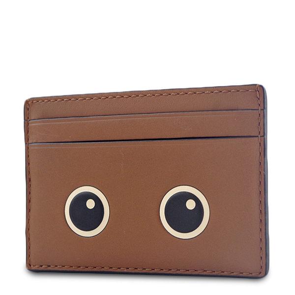美國正品 COACH  滑面皮革大眼睛票卡名片夾-棕色