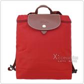 LONGCHAMP 經典Pliage®摺疊款式造型雙肩後背包(紅)