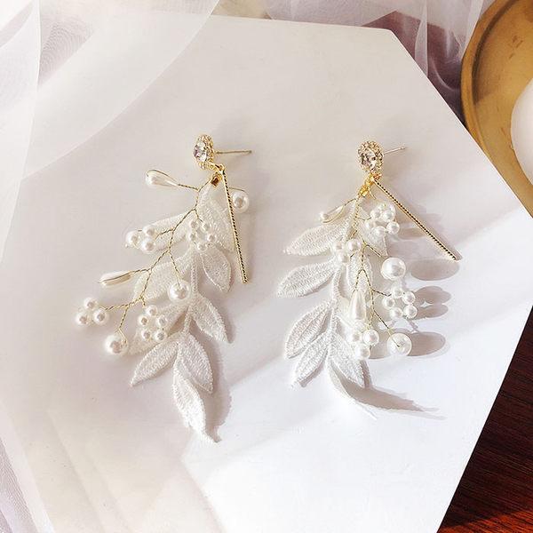 耳環 甜美 蕾絲 樹葉 花邊 珍珠 氣質 耳釘 耳環【DD1903010】 BOBI  05/09