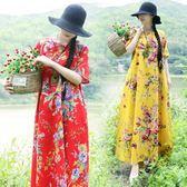 民族風花色盤扣棉麻寬鬆長款連衣裙 長袍子