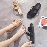 兩穿網紅羅馬鞋女學生時尚新款夏女仙女風平底簡約百搭涼鞋女 卡布奇诺