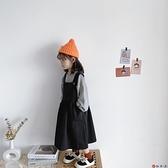 女童背帶裙寶寶素色寬鬆工裝無袖連身裙潮秋【淘夢屋】