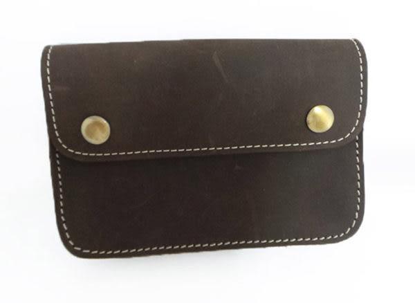 真皮手機腰包-休閒復古瘋馬皮 雙扣手拿大包 長夾 手機袋 手機包 掛包 收納包 真皮包(棕色)