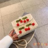 草編小包包潮韓版百搭斜背包編織側背女包【倪醬小舖】