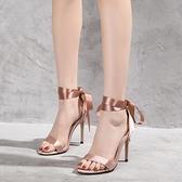 2019夏季小清新法式少女高跟涼鞋女裸色細跟性感綁帶中空超高跟鞋0 幸福第一站