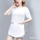 大碼t恤女夏季寬鬆中長款短袖帶口袋中袖上衣女胖mm顯瘦百搭體桖 LR26084『毛菇小象』