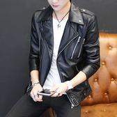 青年個性短款皮衣男士韓版機車皮夾克潮流春秋季帥氣休閒薄款外套 完美計劃