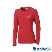 K-SWISS Long Sleeve T-Shirts 印花長袖T恤-女-紅