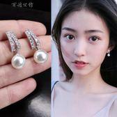 個性珍珠鋯石簡約銀耳釘小耳墜  百姓公館