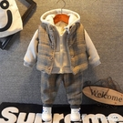 寶寶冬裝加絨加厚三件套男童裝連帽T恤套裝嬰幼兒童冬季馬甲洋氣衣服 第一印象