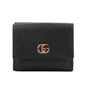 【GUCCI】GG Logo荔枝牛皮雙釦短夾(黑色) 524672 CAO0G 1000