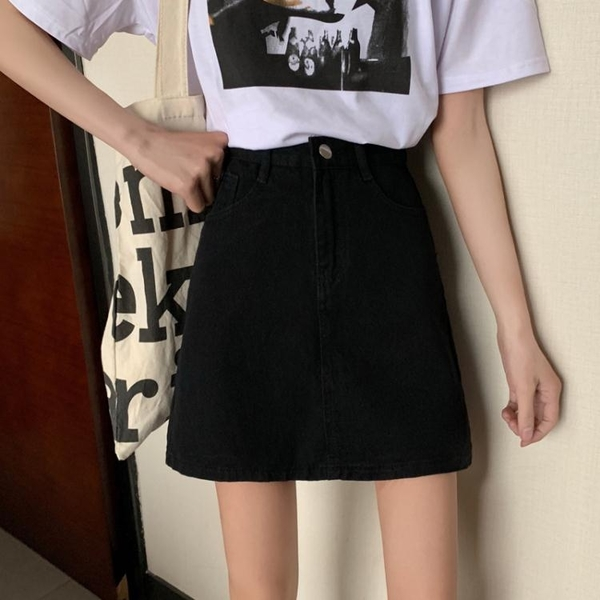 夏季2021年新款高腰黑色牛仔半身裙女小個子顯瘦包臀裙子A字短裙 夢幻小鎮「快速出貨」