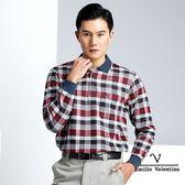 【Emilio Valentino】多層次義式格紋保暖溫料POLO衫 - 紅/灰/黑