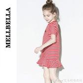 女寶寶裙新款春夏女童裝條紋錯位超洋氣洋裝/連身裙短袖小童 快速出貨