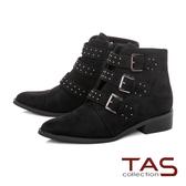 TAS圓釘釦帶粗跟拉鍊短靴-尊爵黑