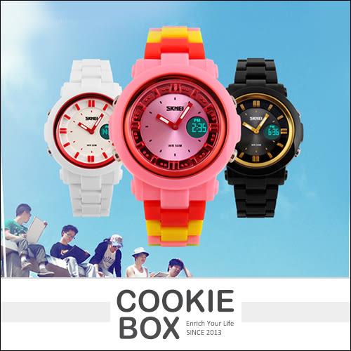 時刻美 SKMEI 多彩 果凍色 手錶 流行錶 時尚錶 女錶 多色 指針錶 電子錶 雙顯 冷光 顯示 *餅乾盒子*