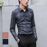 男 線條/漸層/格紋/修身/長袖襯衫 L AME CHIC 多線條格紋長袖襯衫【FTLS020905】