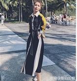 拼接法式長袖襯衫洋裝春秋新款收腰顯瘦氣質設計感小眾長裙 居家物語