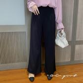 中大尺碼  黑色後鬆緊拖地寬褲- 適XL~4L《 7019 》CC-GIRL