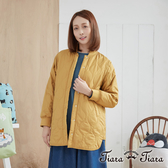 【Tiara Tiara】波紋暗釦開衩輕暖外套(黃)