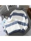 毛衣 軟奶藍毛衣女秋冬外穿2020年新款學生套頭百搭韓版寬松條紋針織衫 夢藝