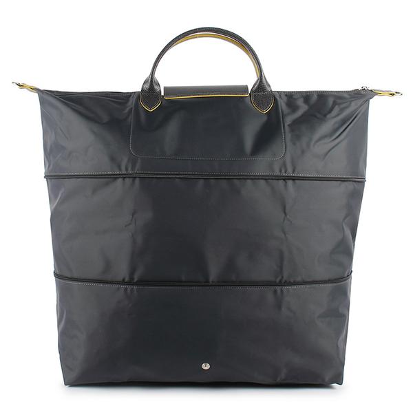 LONGCHAMP 1911 Le Pliage刺繡延展夾層旅行袋(鐵灰色)480212-300