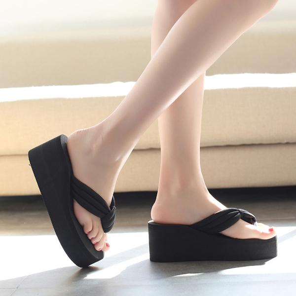 厚底楔形涼拖鞋女士高跟防滑沙灘人字拖旅遊時尚拖鞋鬆糕夾腳拖潮