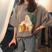 T恤衫卡通印花短袖T恤女春季2019新款寬鬆學生韓版百搭半袖打底衫上衣
