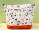 【震撼精品百貨】Hello Kitty 凱蒂貓~Hello Kitty日本SANRIO三麗鷗KITTY化妝包/筆袋-防水斜線紅*73524