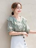 2020新款 v領心機雪紡襯衫女短袖設計感超仙韓版襯衣荷葉邊上衣夏 伊芙莎