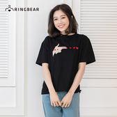 圓領上衣--韓版潮流流行時尚手指愛心刺繡圖案短袖棉T(黑XL-3L)-T248眼圈熊中大尺碼
