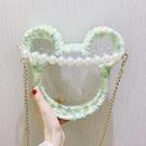 珍珠小包包女新款編織手工DIY材料包鏈條透明單肩斜挎包 花樣年華